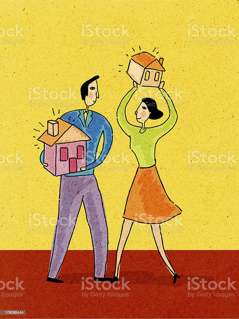 man and woman holding houses in their hands royalty-free stock vector art