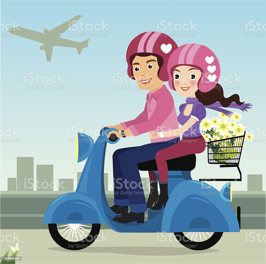 man and woman on motorbike royalty-free stock vector art