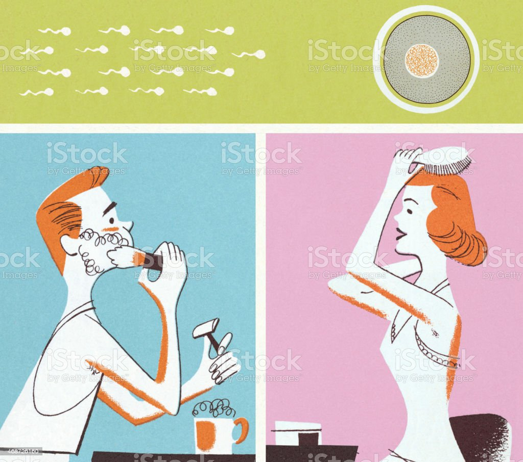 Man and Woman Primping and Sperm and Egg vector art illustration