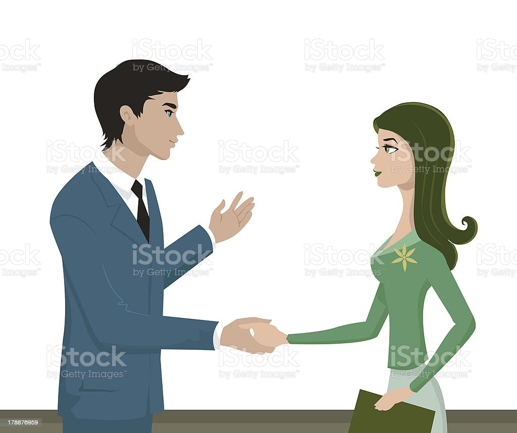 man and woman shaking hands vector art illustration