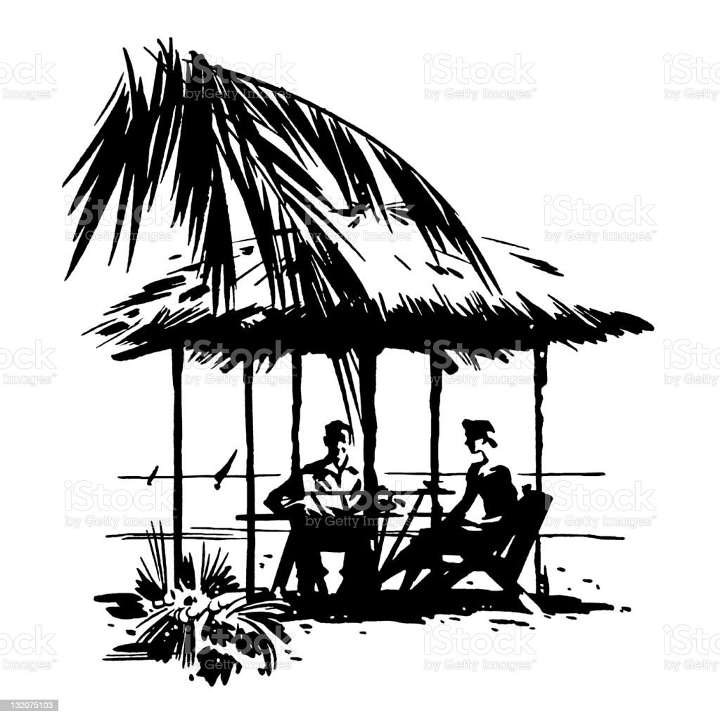 Man and Woman Sitting Under Hut royalty-free stock vector art
