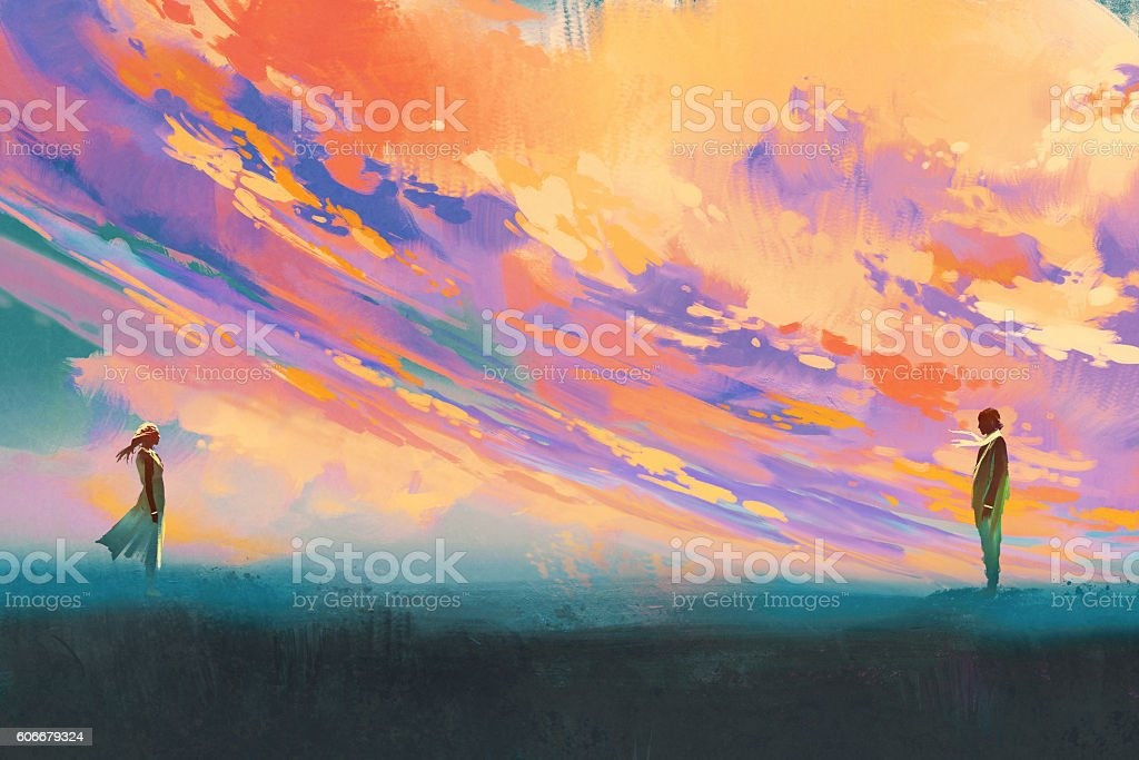 man and woman standing against colorful sky vector art illustration