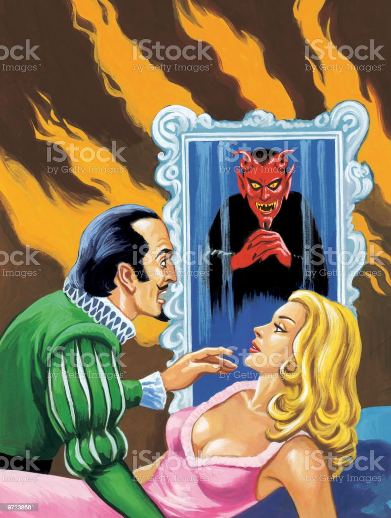 Man and Woman With Devil in Background royalty-free stock vector art