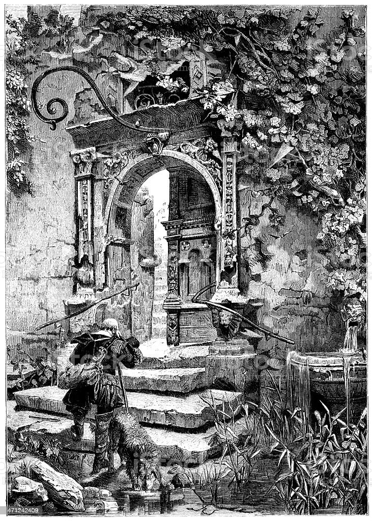 Man arriving at an old ruined house (Victorian illustration) royalty-free stock vector art