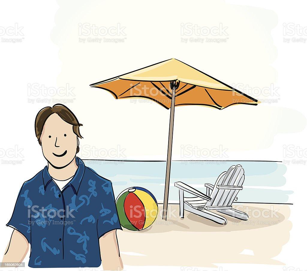 Man at the Beach royalty-free stock vector art