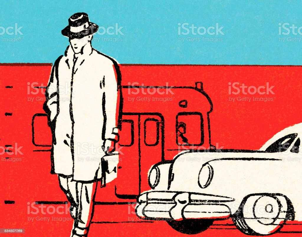 Man at train station vector art illustration