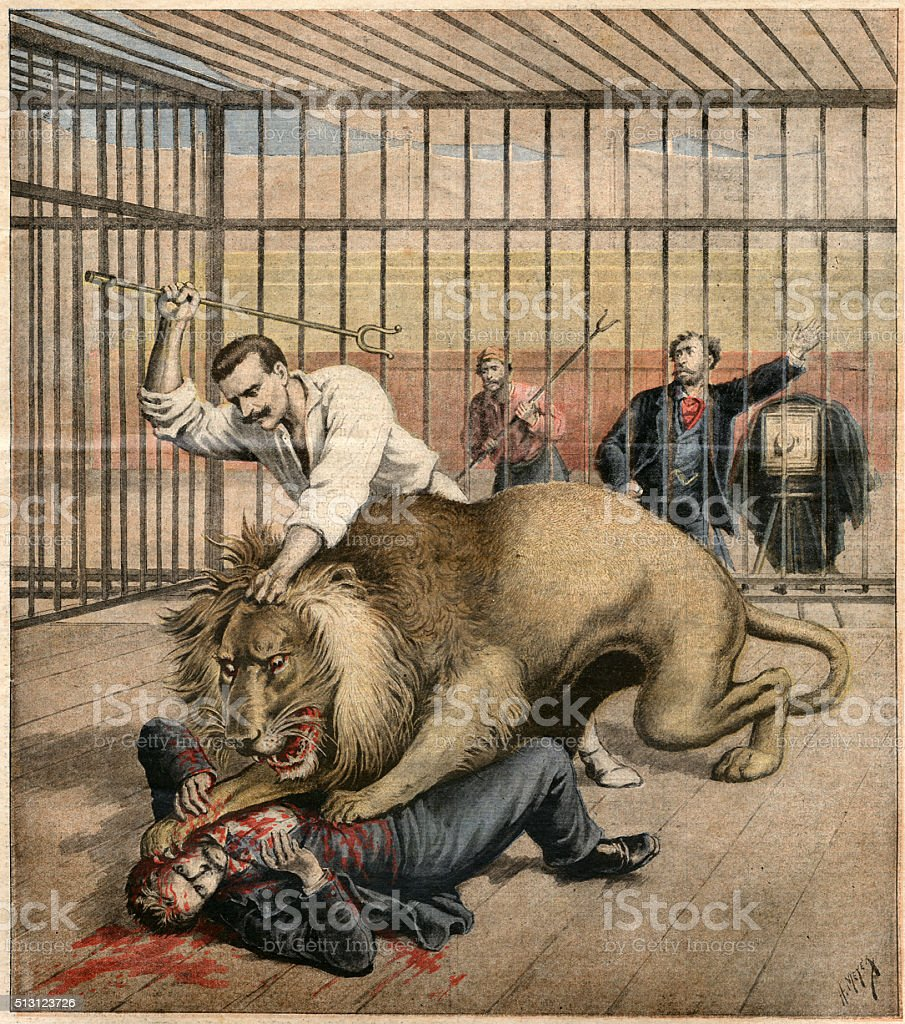 Man being attacked by a caged lion vector art illustration