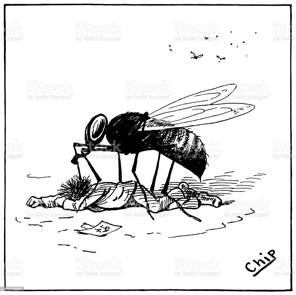 Man being attacked by a large wasp vector art illustration