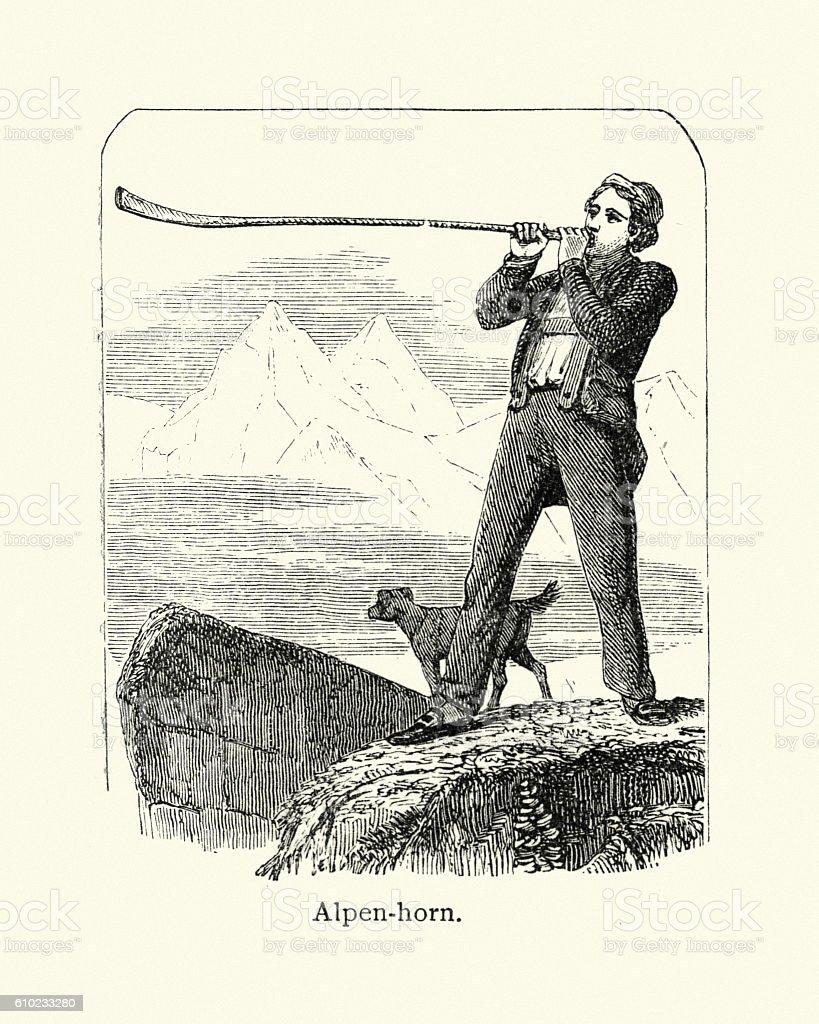 Man blowing a Alpen horn, 19th Century vector art illustration