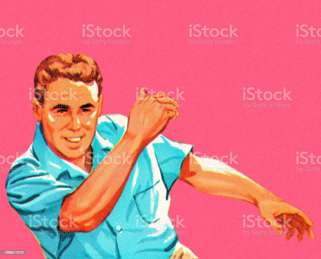 Man Bowling vector art illustration