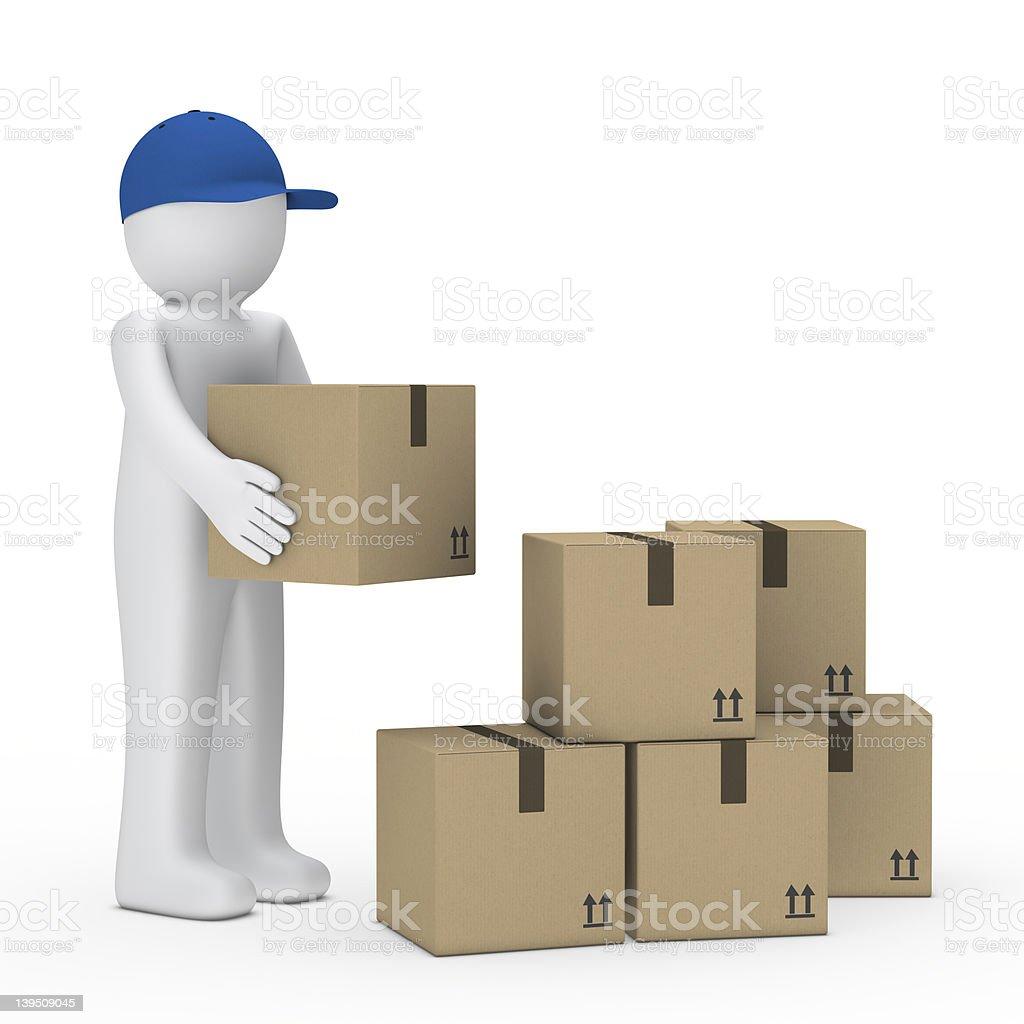man brown package royalty-free stock vector art