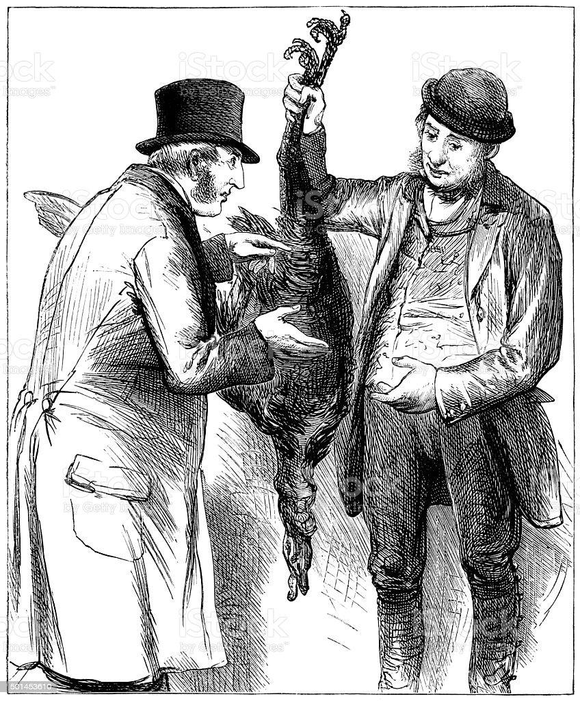 Man buying a Christmas turkey vector art illustration