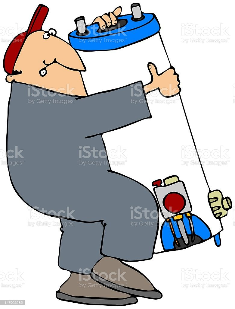 Man Carrying A Water Heater royalty-free stock vector art