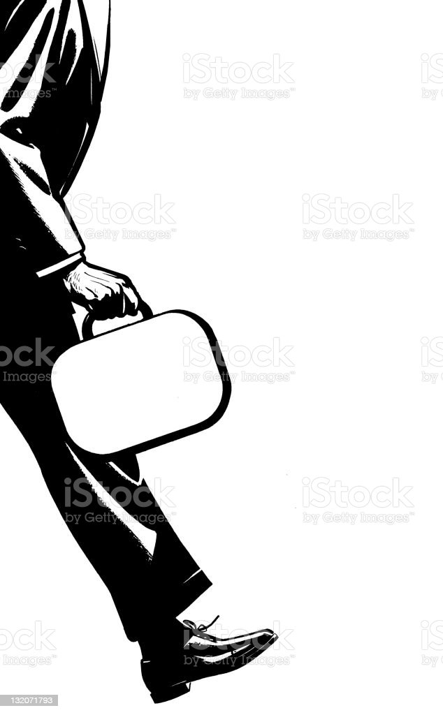 Man Carrying Briefcase vector art illustration