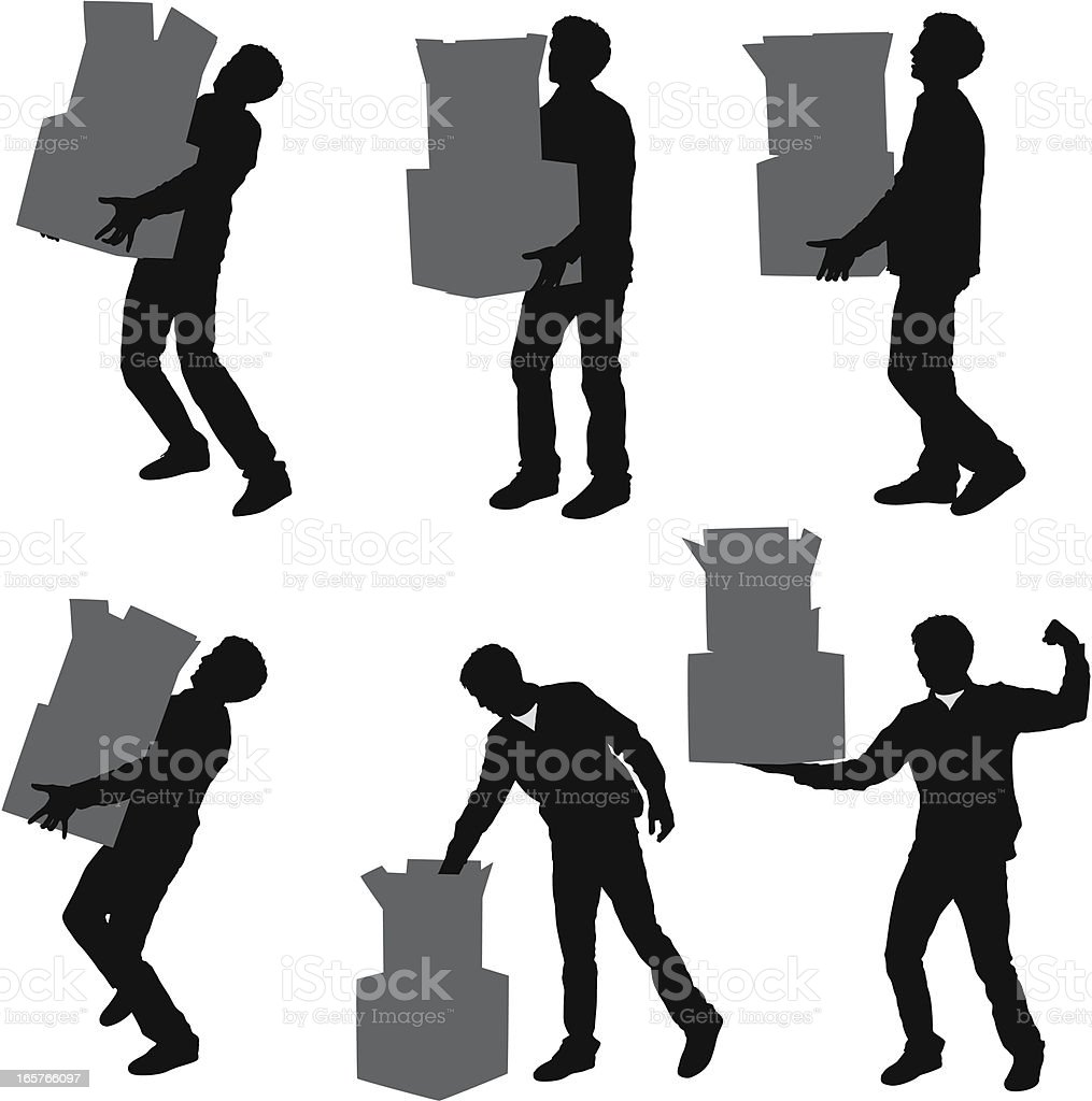 Man carrying stacks of boxes vector art illustration