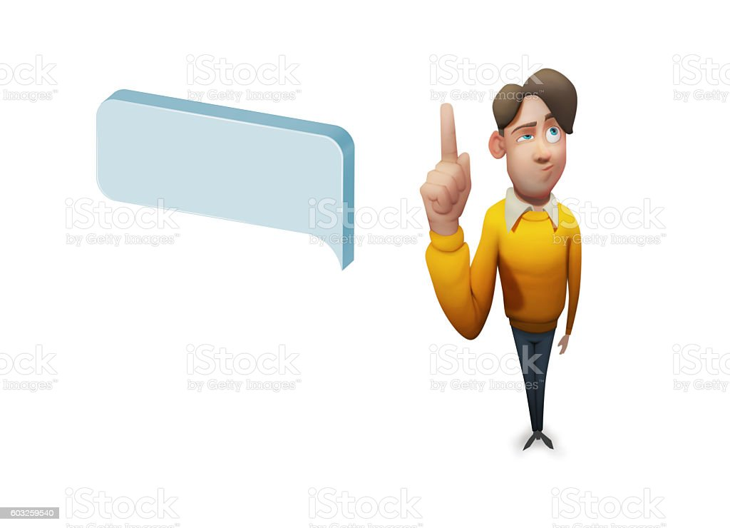 Man Character With Speech Bubbles Massage Concept stock vector art ...