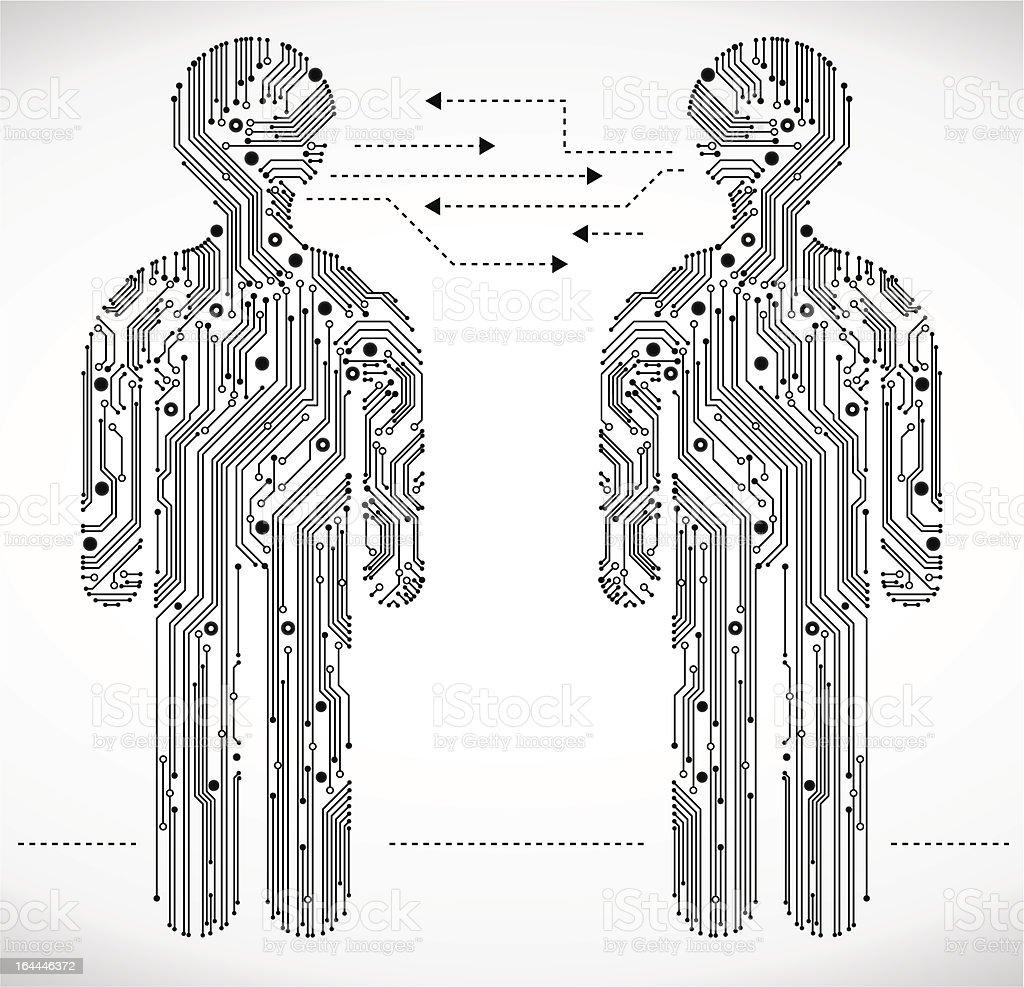 man circuit board communication royalty-free stock vector art