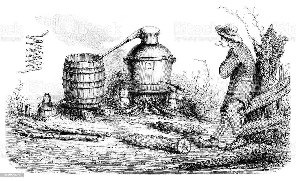 Man distilling alcohol in rural scene 1865 vector art illustration