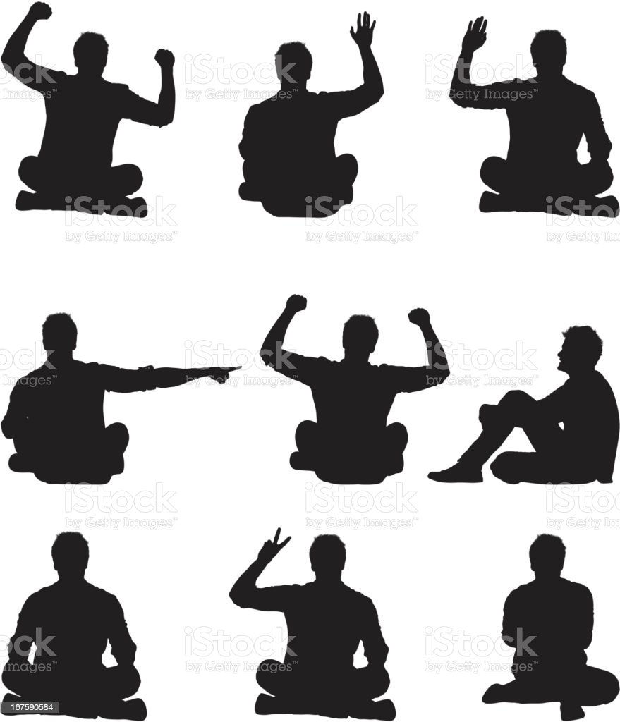 Man doing different gestures vector art illustration