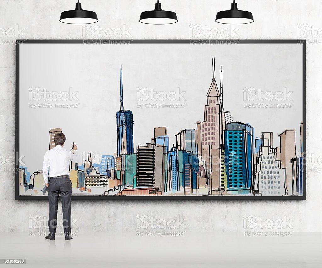 Man drawing New York vector art illustration