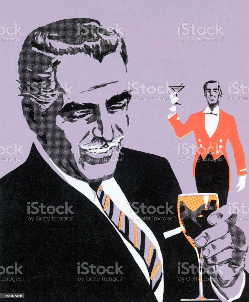 Man Drinking vector art illustration
