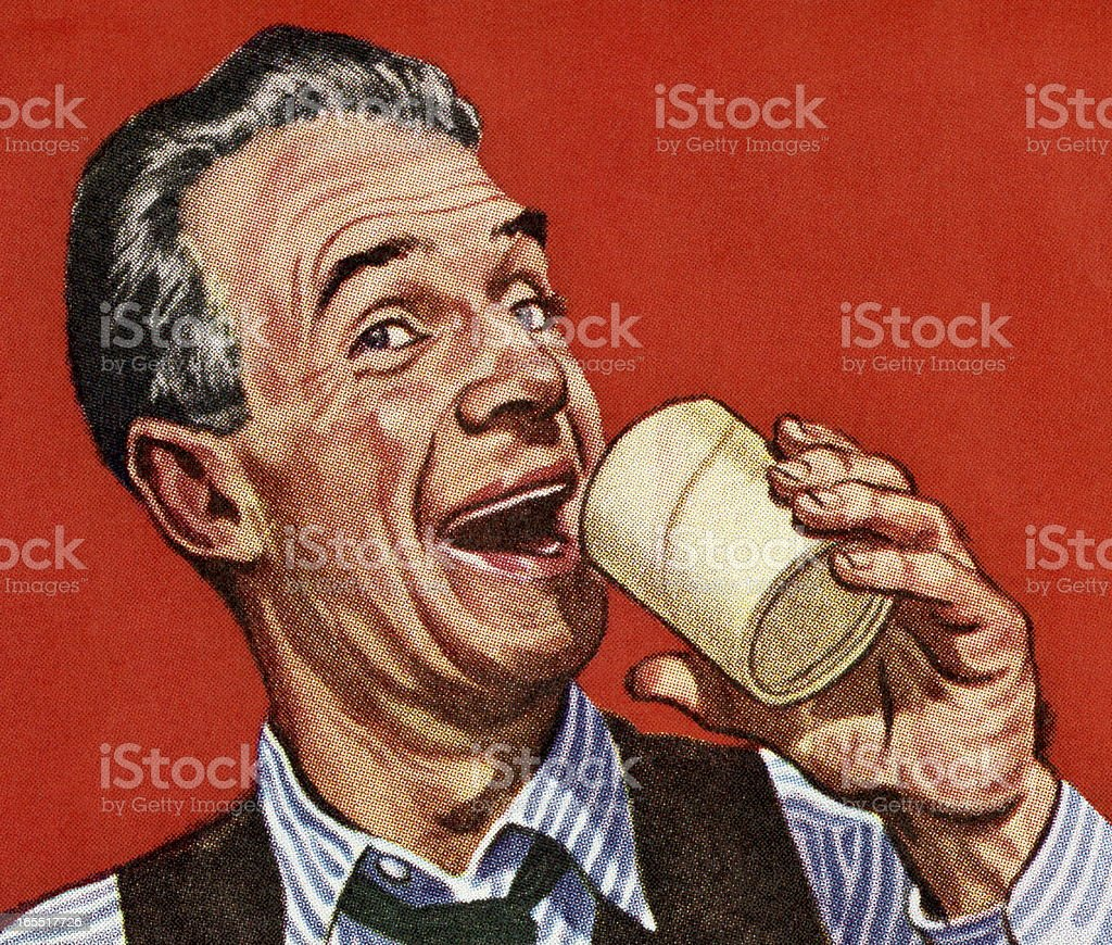 Man Drinnking out of a Glass royalty-free stock vector art