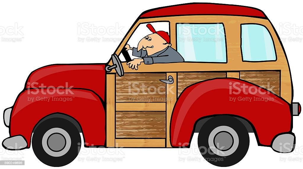 Man driving a woody station wagon vector art illustration