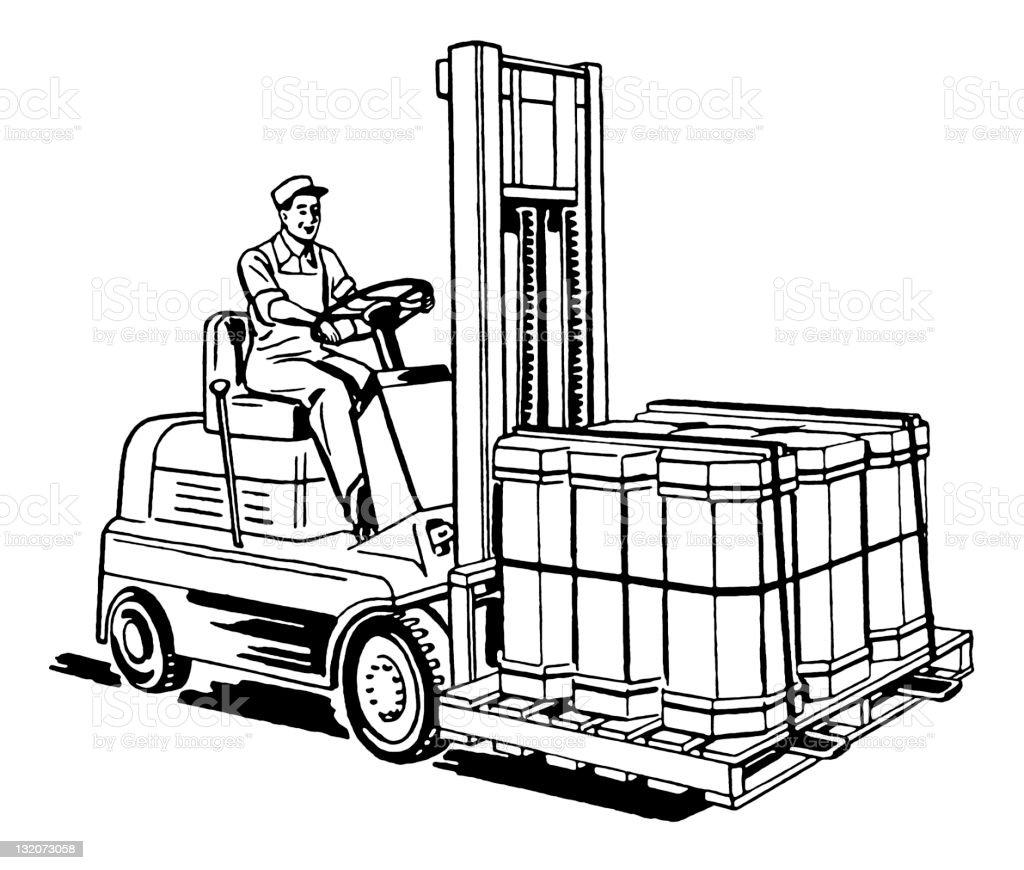 Man Driving Forklift royalty-free stock vector art