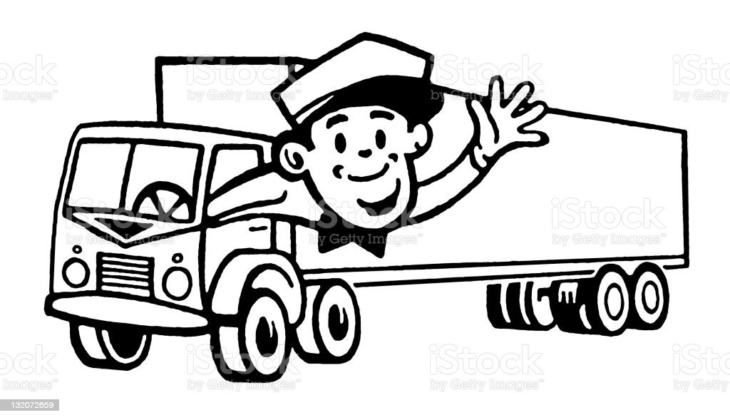 Man Driving Truck royalty-free stock vector art