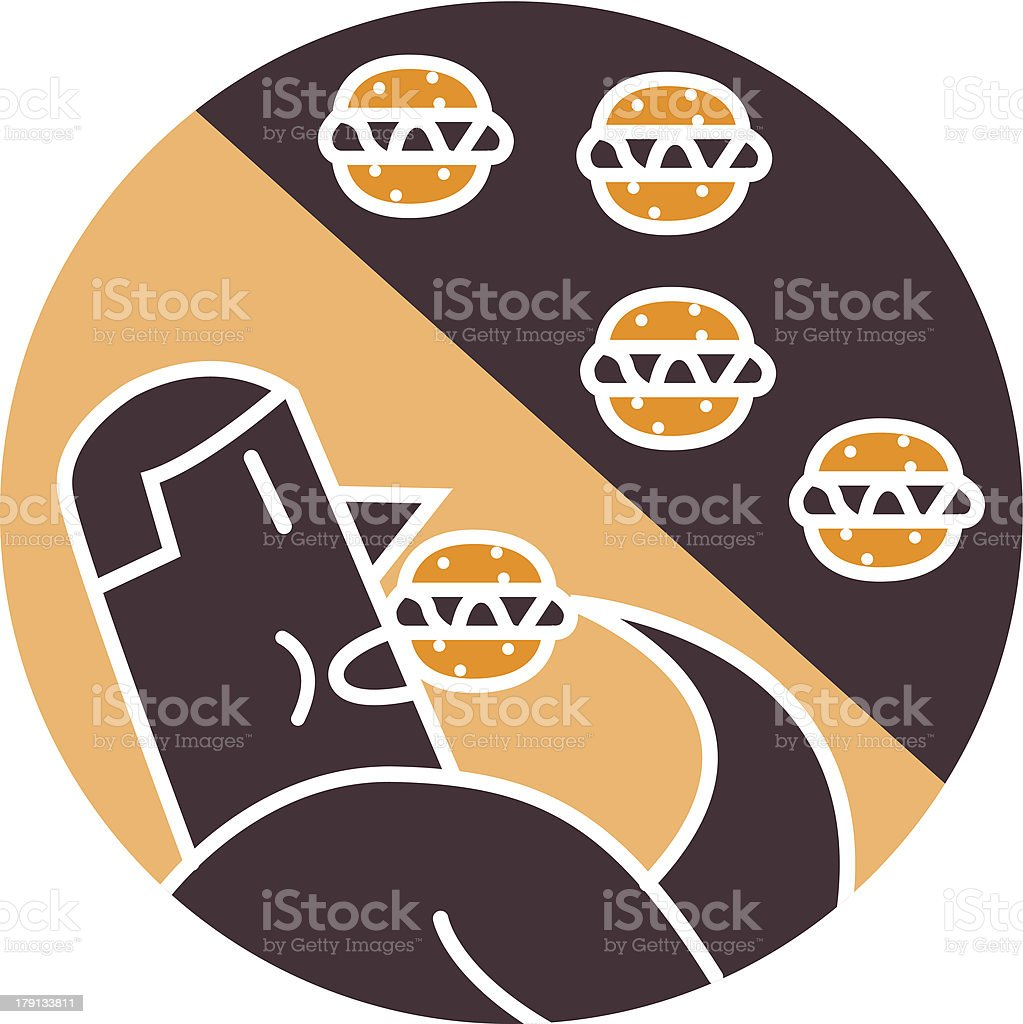 Man eating hamburgers royalty-free stock vector art