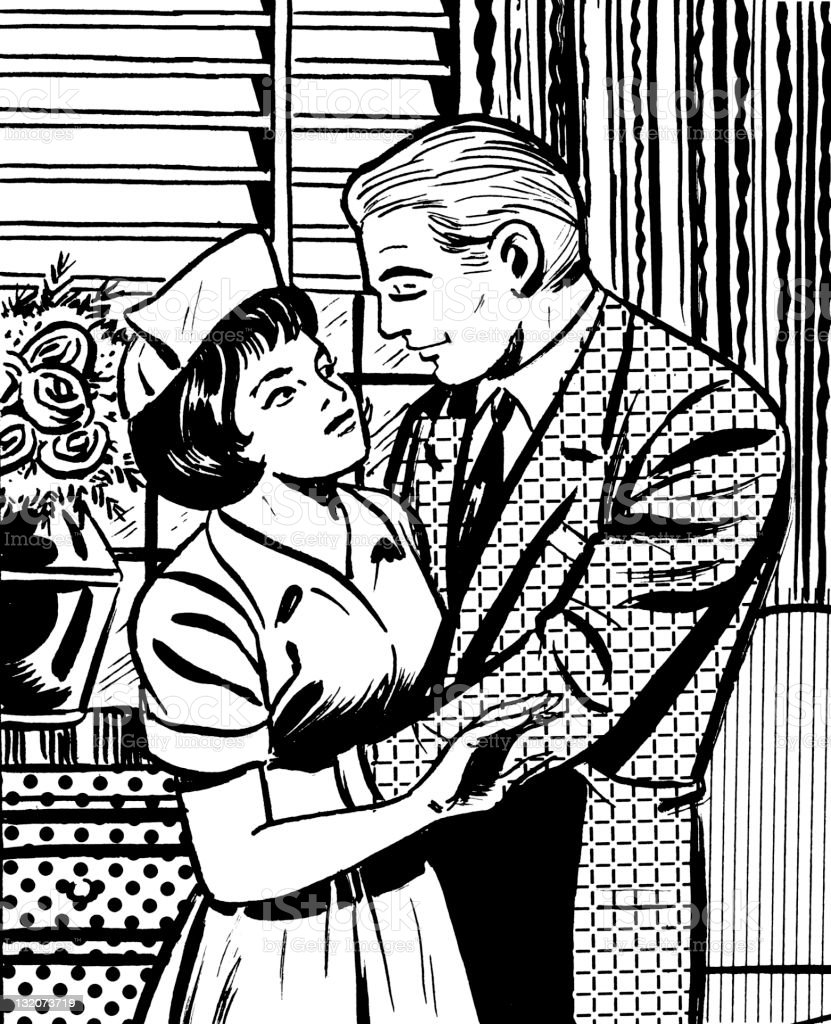 Man Embracing Female Nurse royalty-free stock vector art