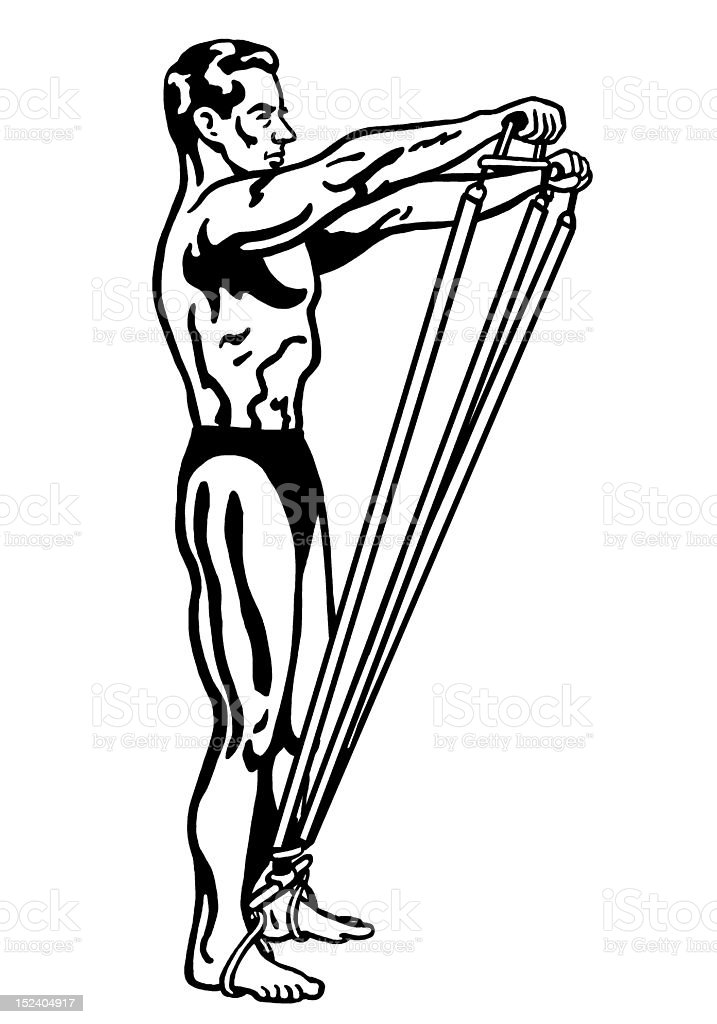 Man Exercising With Bands royalty-free stock vector art