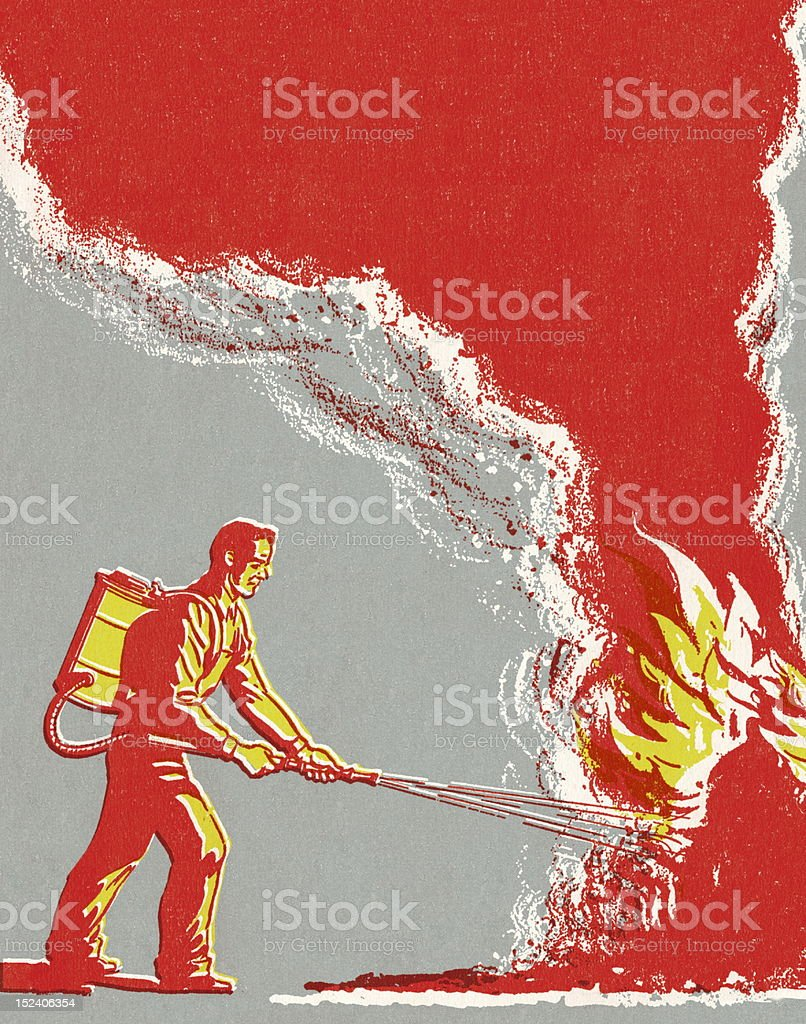 Man Fighting Fire royalty-free stock vector art