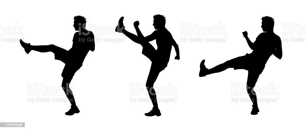 man fighting silhouettes set royalty-free stock vector art
