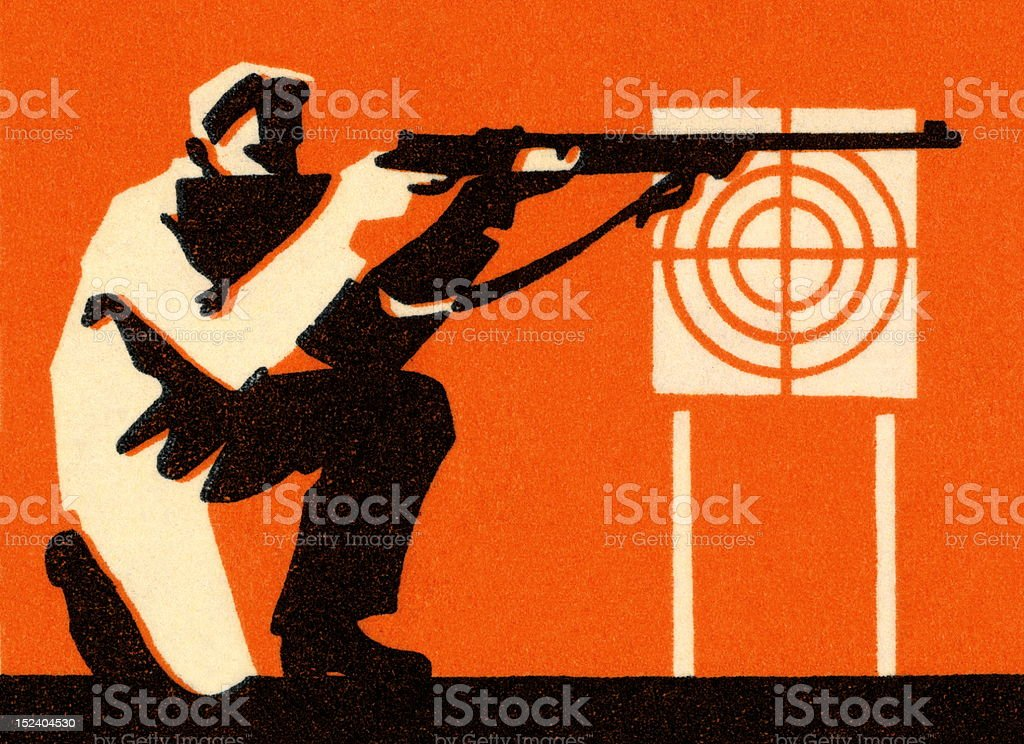 Man Firing at Target royalty-free stock vector art