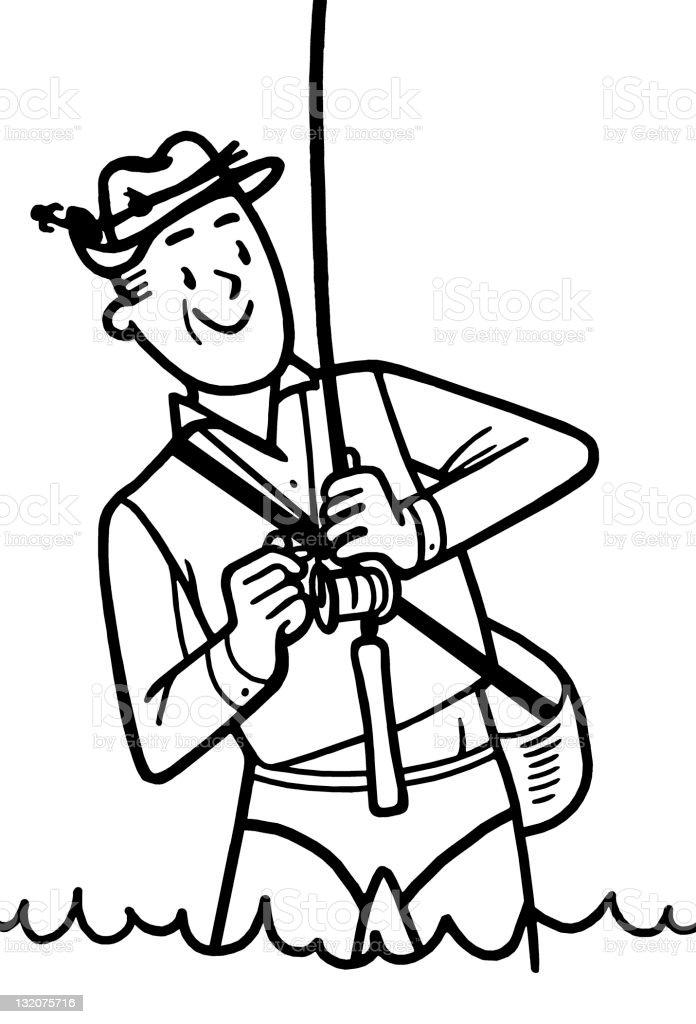 Man Fishing vector art illustration