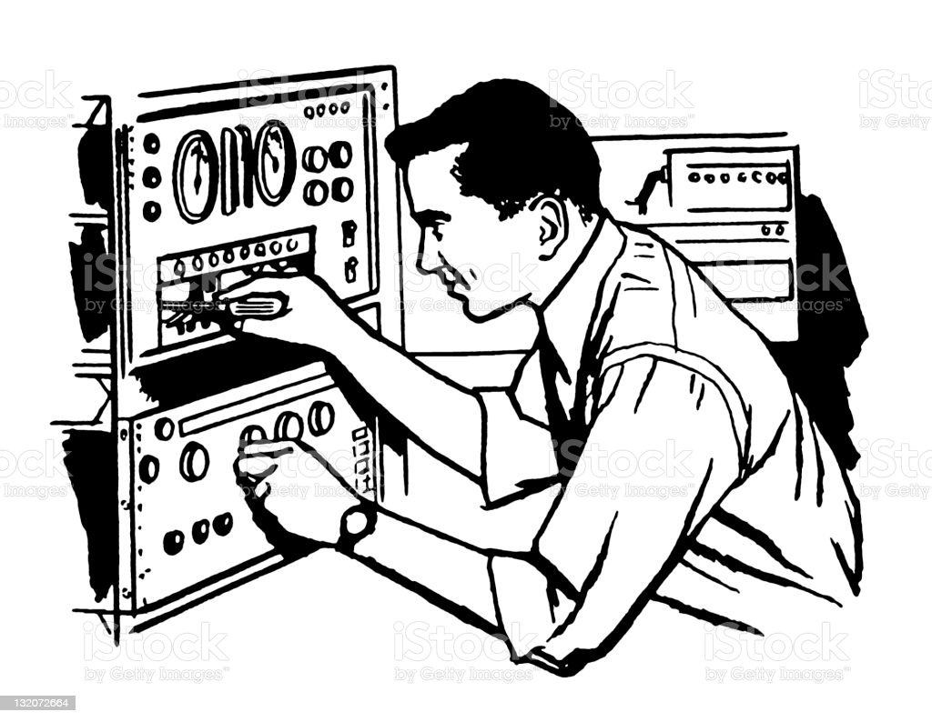 Man Fixing Equipment royalty-free stock vector art
