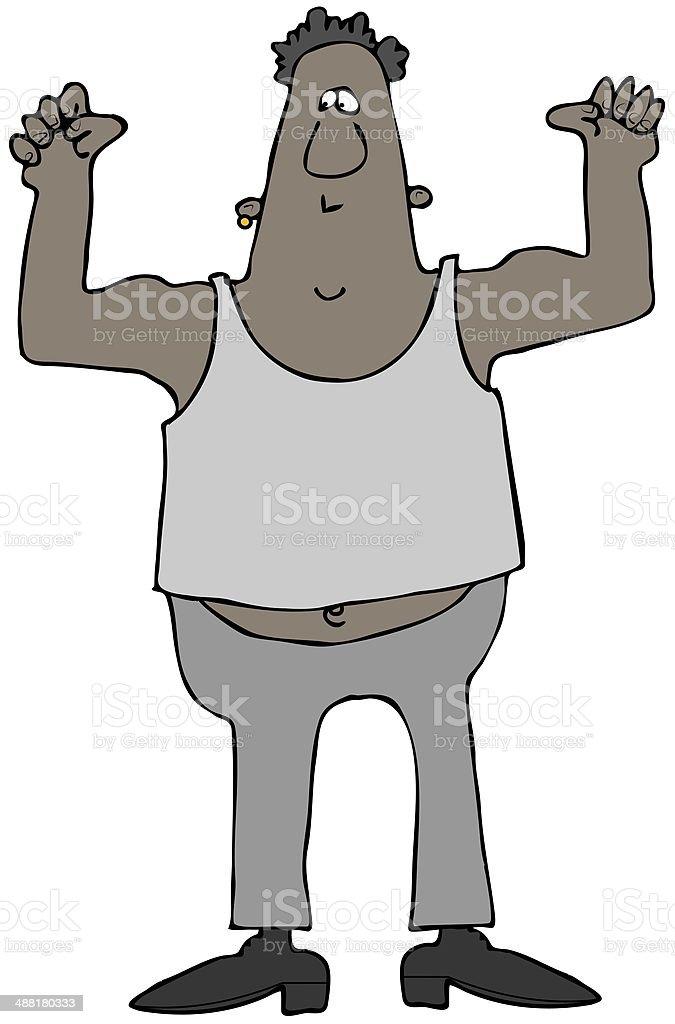 Man flexing his biceps royalty-free stock vector art