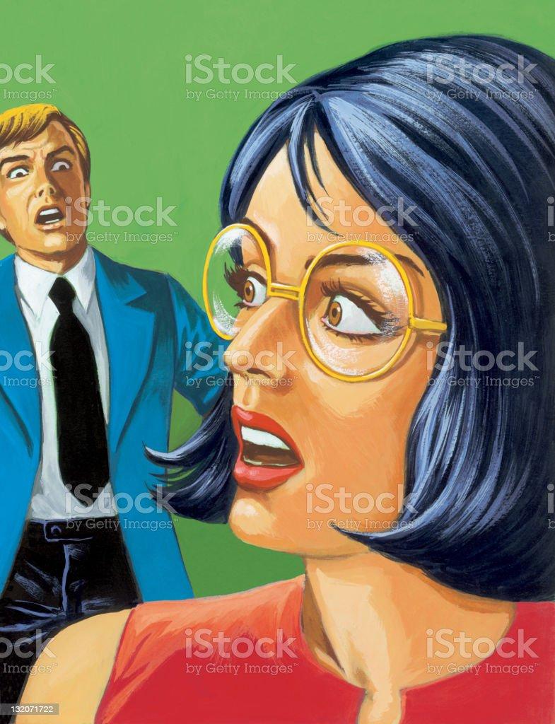 Man Frightens Woman royalty-free stock vector art