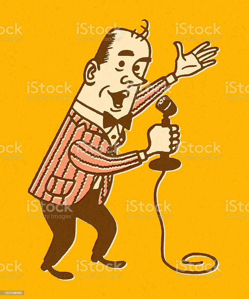 Man Gesturing and Using Microphone royalty-free stock vector art