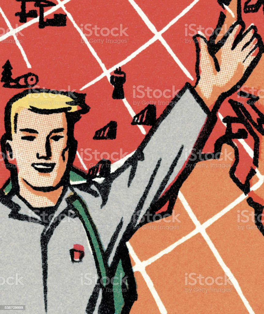 Man Gesturing in Front of a Giant Globe vector art illustration