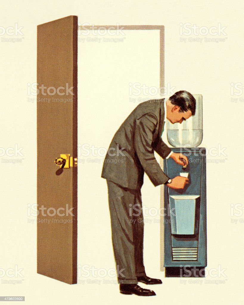 Man Getting Drink from Water Cooler vector art illustration
