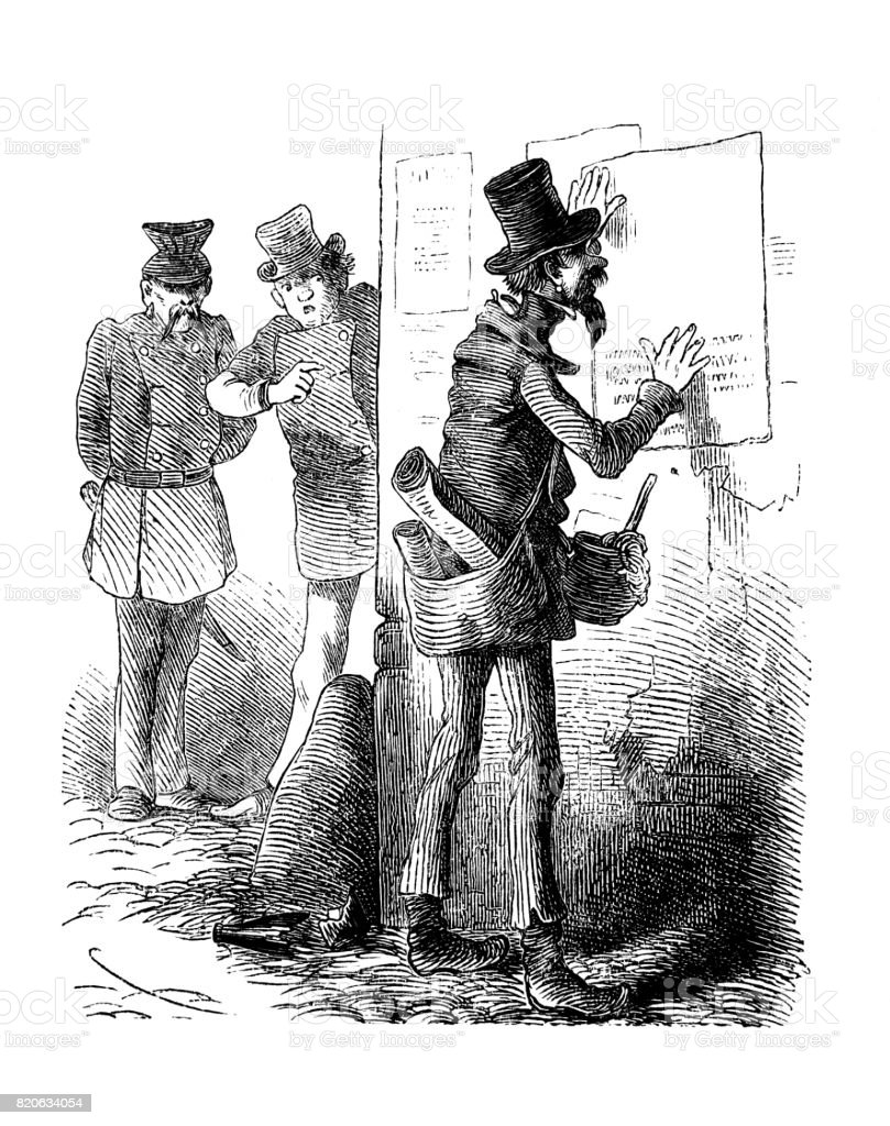 Man glues a poster on the wall, a man in uniform and his male companion looks at him -1867 vector art illustration