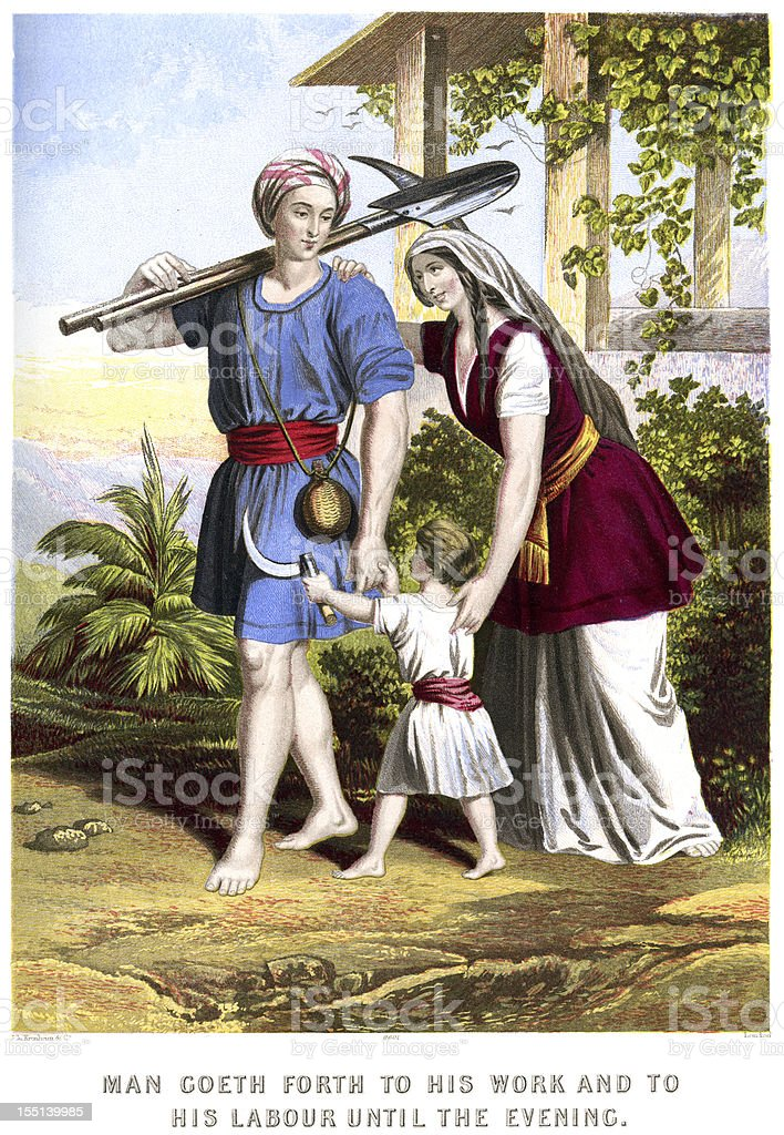 Man goeth forth to his work royalty-free stock vector art