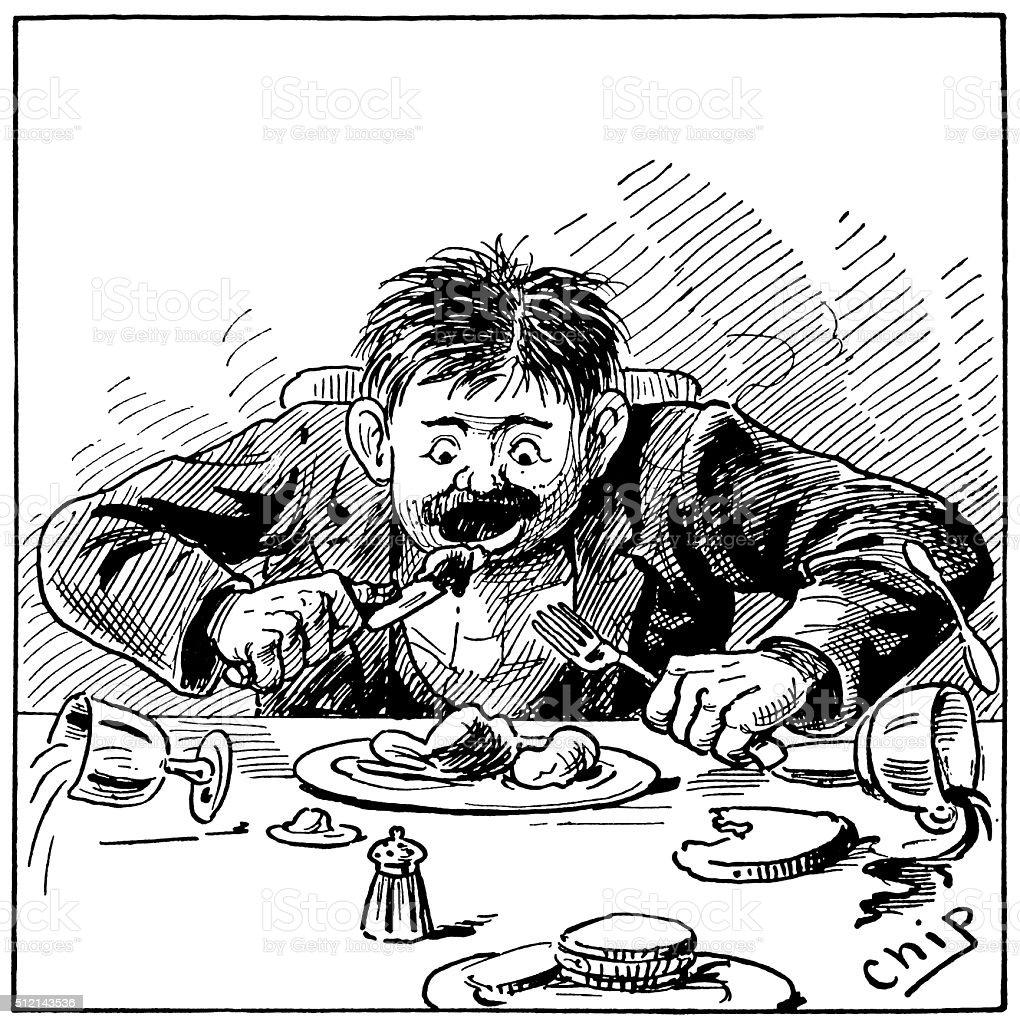 Man greedily devouring his dinner vector art illustration