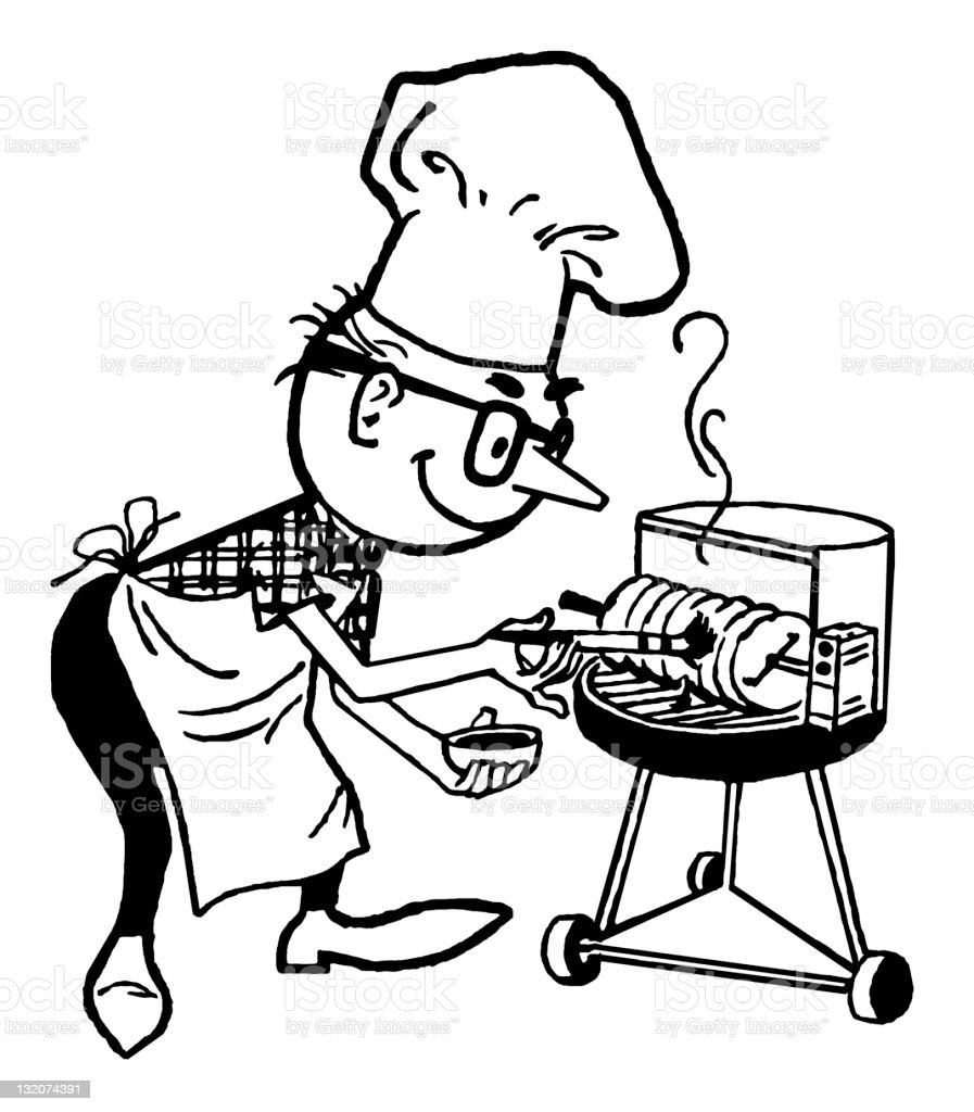 Man Grilling royalty-free stock vector art