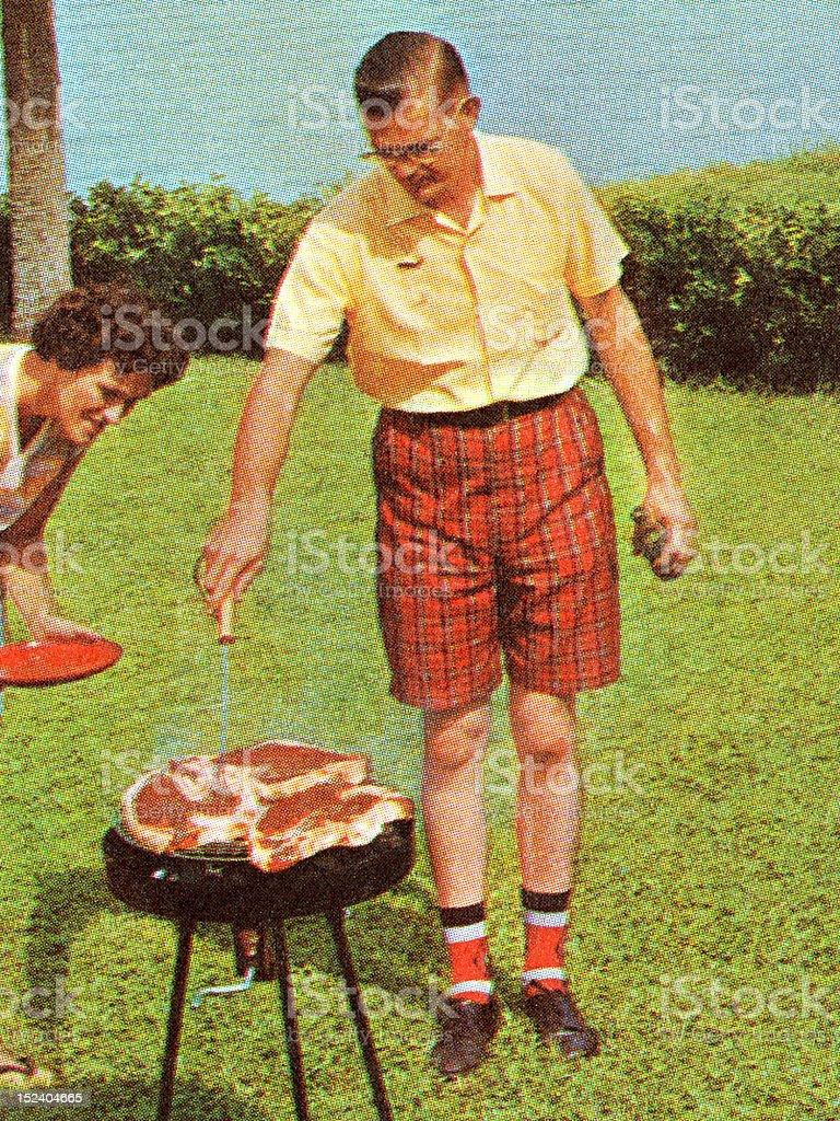 Man Grilling Steaks vector art illustration