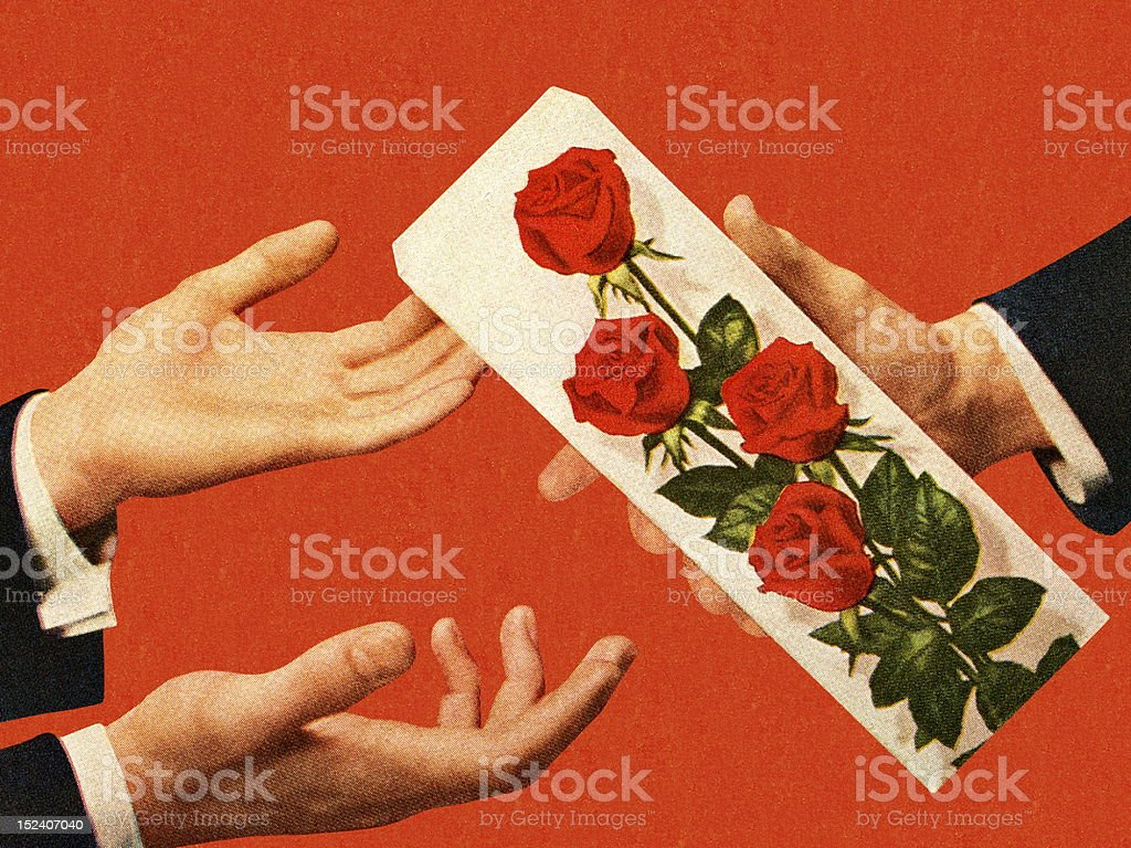 Man Handing Man Box of Roses royalty-free stock vector art