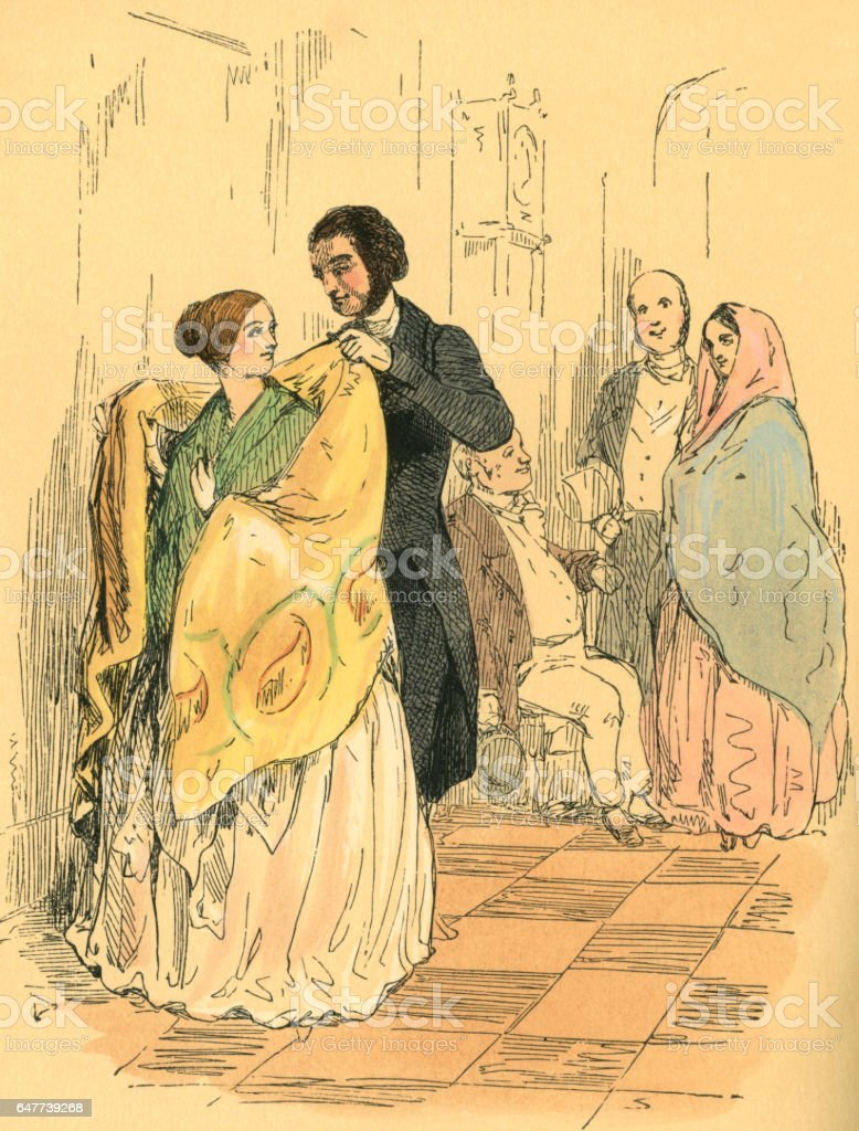 Man helping a Victorian lady to put on her shawl vector art illustration