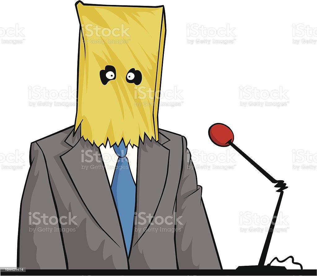 Man hiding under Paper sack testifying royalty-free stock vector art